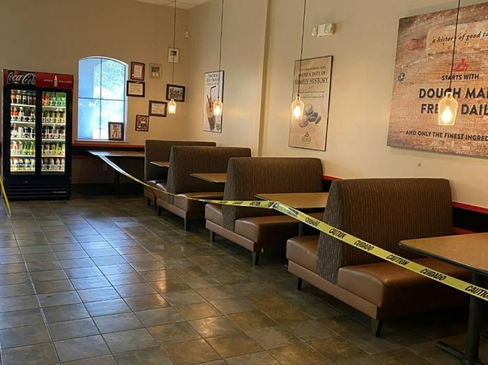 This May 16, 2020 photo provided by Kolache Factory shows the dining area of Kolache Factory in Houston