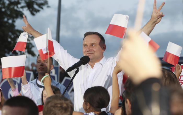 Polish President Andrzej Duda speaks to supporters at a presidential election campaign rally in Lomza, Poland.