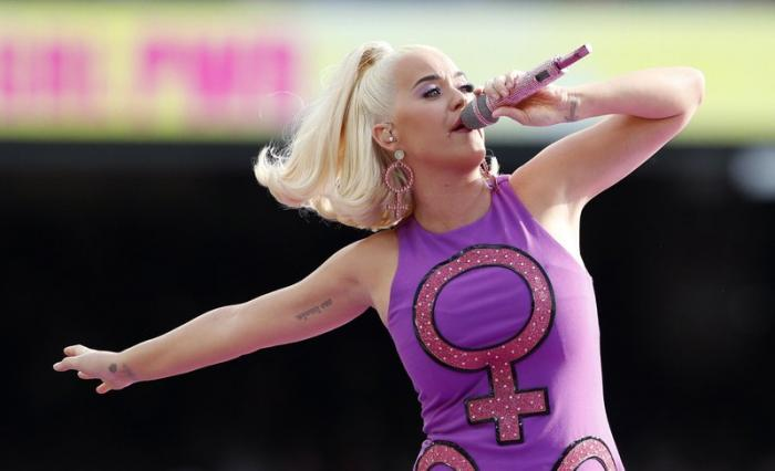 Katy Perry performs before the start of the Women's T20 World Cup cricket final match between Australia and India in Melbourne.