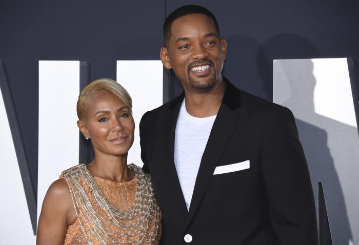 """Jada Pinkett Smith, left, and her husband Will Smith attend the premiere of """"Gemini Man"""" in Los Angeles."""