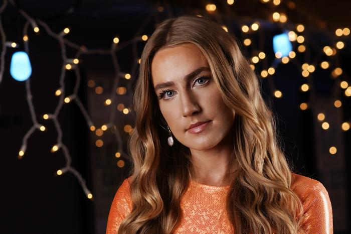 "Country singer Ingrid Andress poses in Nashville, Tenn., on Oct. 1, 2020, to promote her album ""Lady Like."" (AP Photo/Mark Humphrey)"