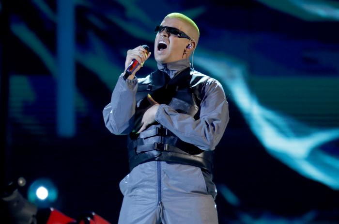 Bad Bunny performs a medley at the Billboard Latin Music Awards in Las Vegas.