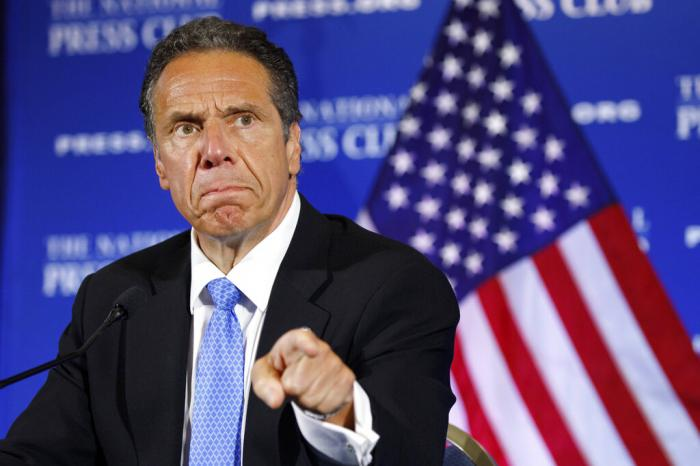 New York Gov. Andrew Cuomo speaks during a news conference, at the National Press Club in Washington.