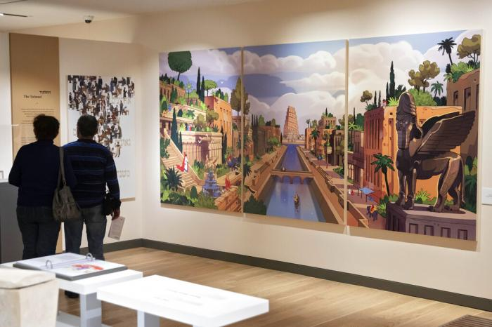 Visitors tour the Jewish museum in Tel Aviv, Israel.