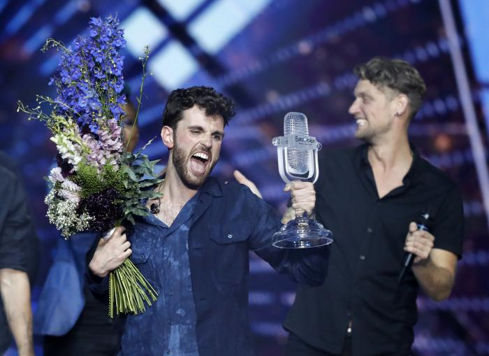 Duncan Laurence of the Netherlands celebrates after winning the 2019 Eurovision Song Contest grand final in Tel Aviv, Israel.
