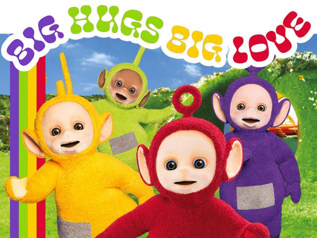 This promotional image from WildBrain Ltd. shows the Teletubbies 'Big Hugs Big Love' Pride Collection theme.