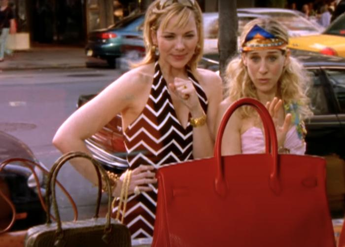 """Kim Cattrall and Sarah Jessica Parker in a scene from """"Sex and the City."""""""