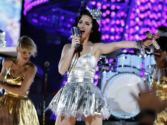 In this Nov. 30, 2010 file photo, Katy Perry performs during the Grammy Nominations Concert in Los Angeles.